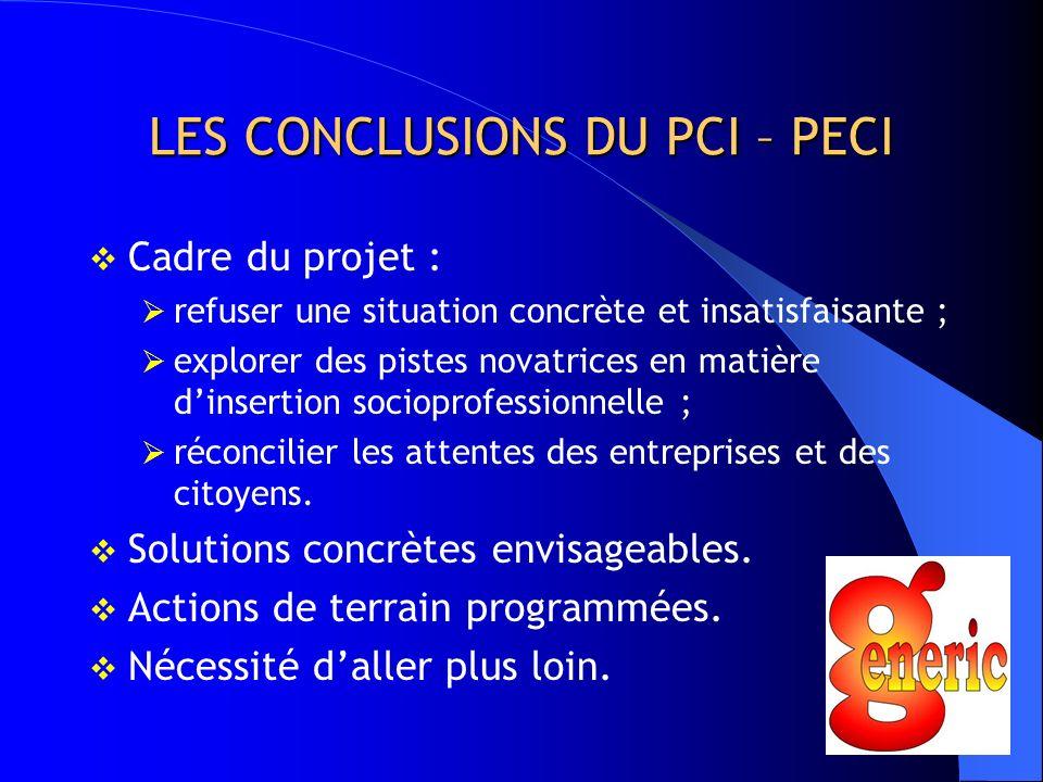 LES CONCLUSIONS DU PCI – PECI