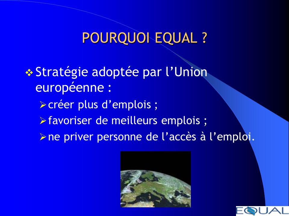 POURQUOI EQUAL Stratégie adoptée par l'Union européenne :