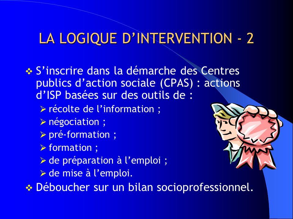 LA LOGIQUE D'INTERVENTION - 2