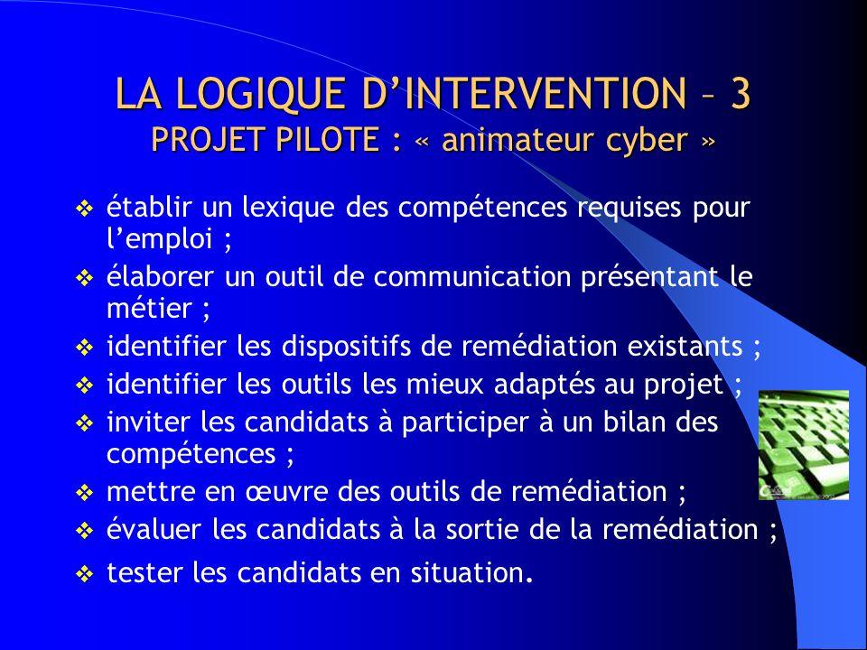 LA LOGIQUE D'INTERVENTION – 3 PROJET PILOTE : « animateur cyber »