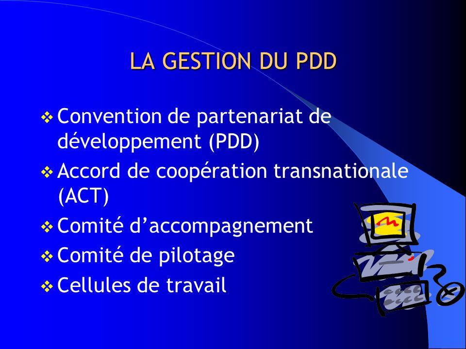 LA GESTION DU PDD Convention de partenariat de développement (PDD)