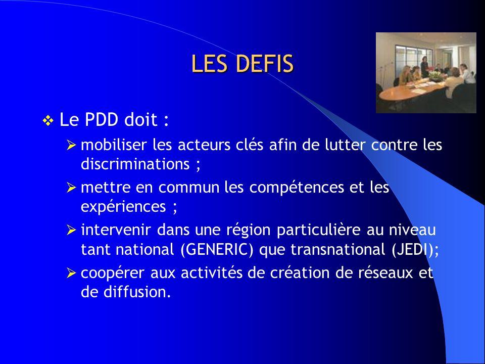 LES DEFIS Le PDD doit : mobiliser les acteurs clés afin de lutter contre les discriminations ;