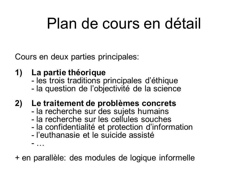 Plan de cours en détail Cours en deux parties principales: