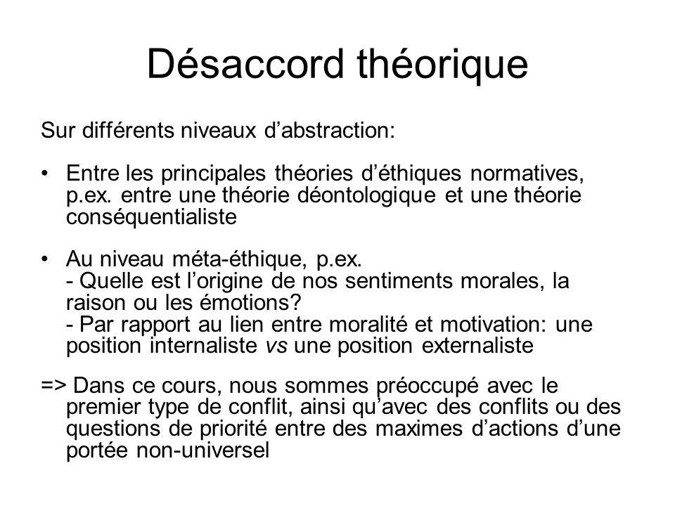 Désaccord théorique Sur différents niveaux d'abstraction: