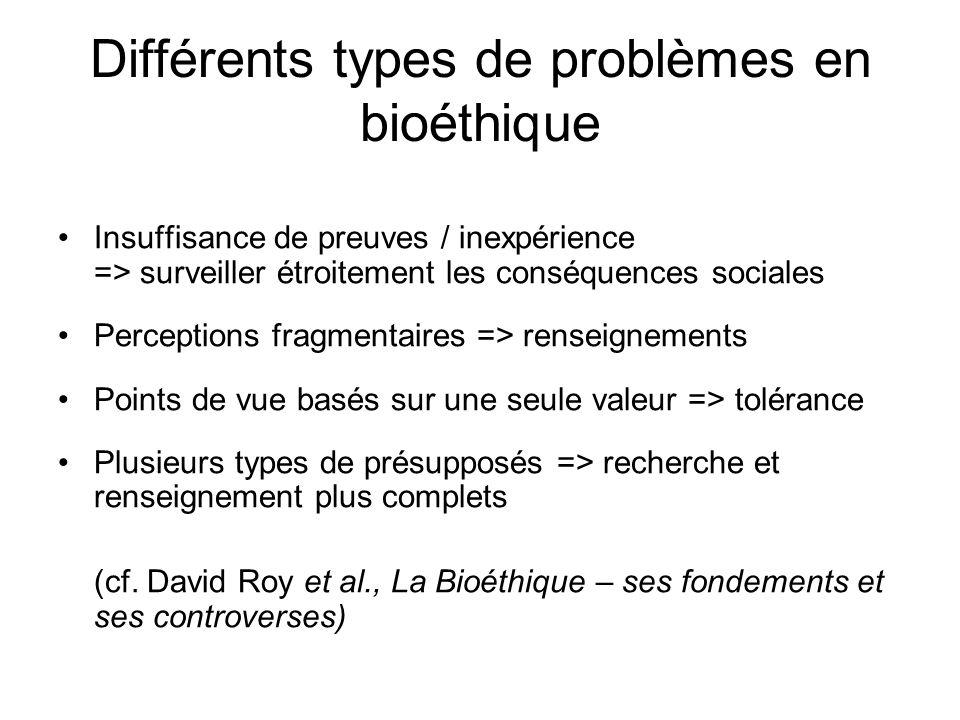 Différents types de problèmes en bioéthique