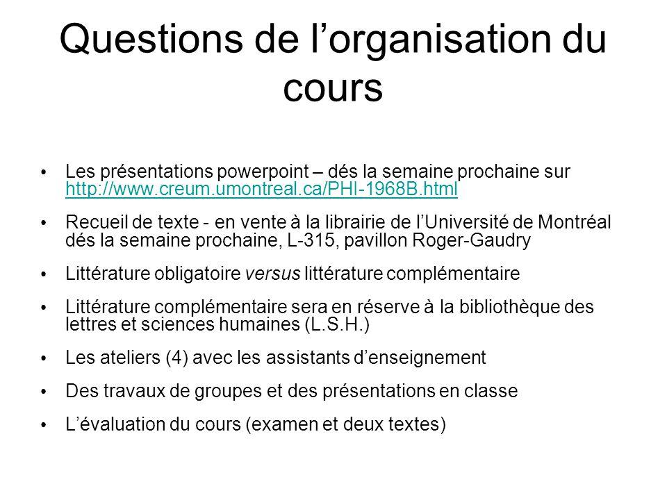 Questions de l'organisation du cours