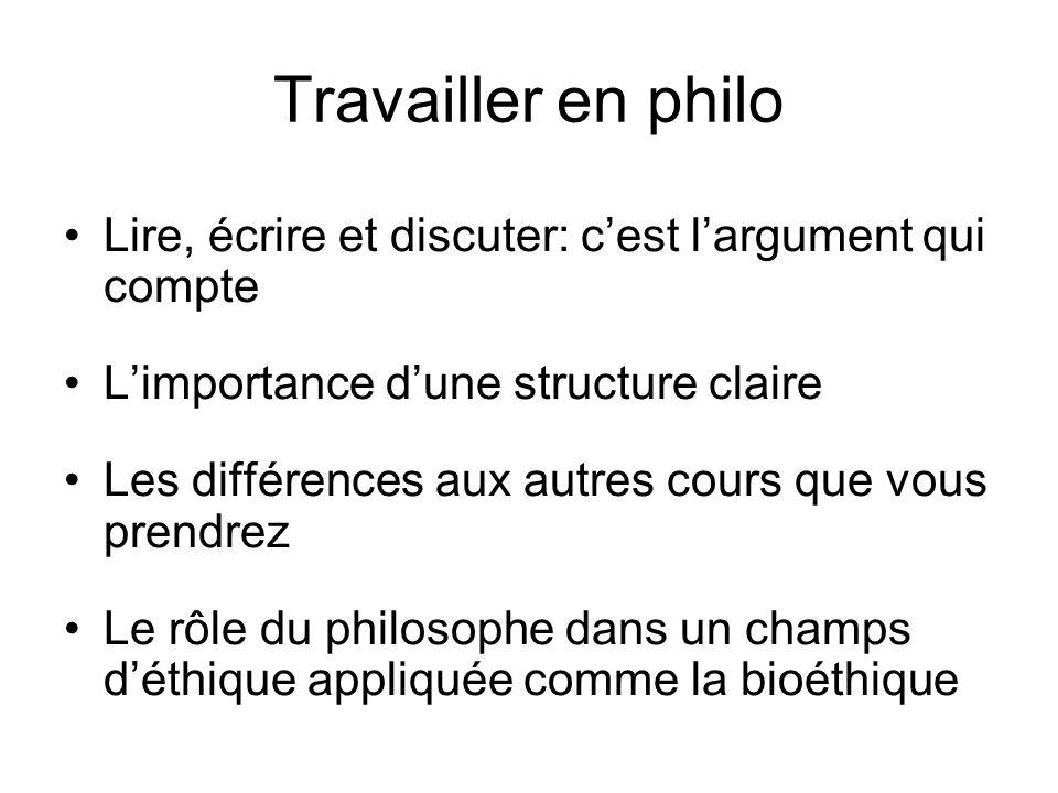 Travailler en philo Lire, écrire et discuter: c'est l'argument qui compte. L'importance d'une structure claire.