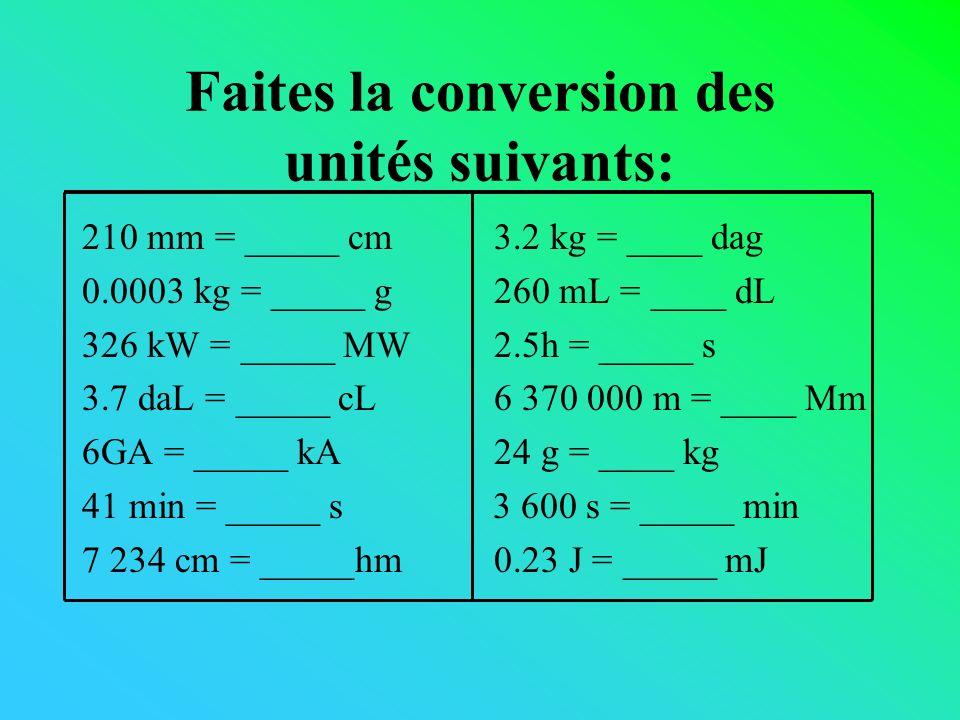 Faites la conversion des unités suivants: