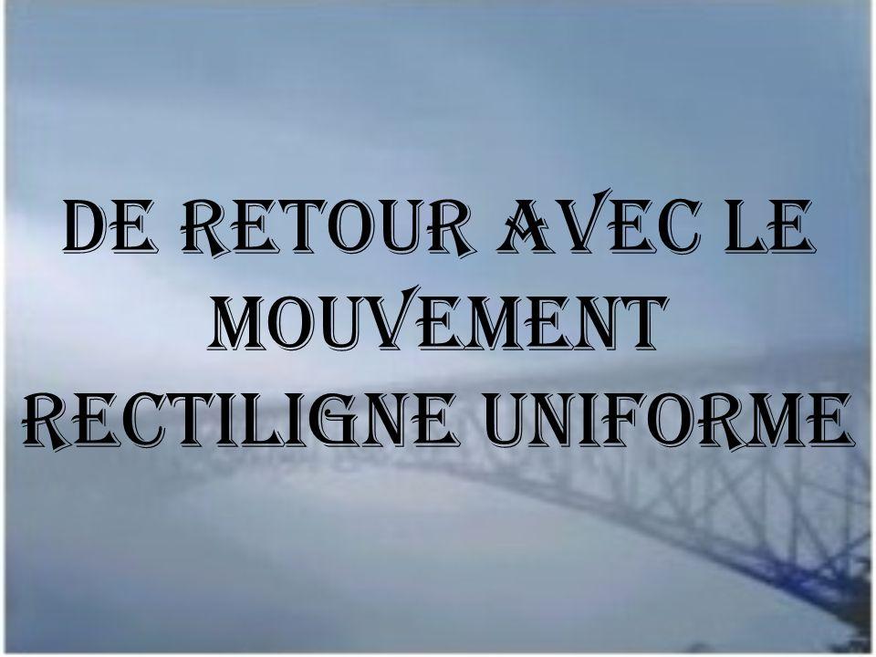 De retour avec Le mouvement rectiligne uniforme