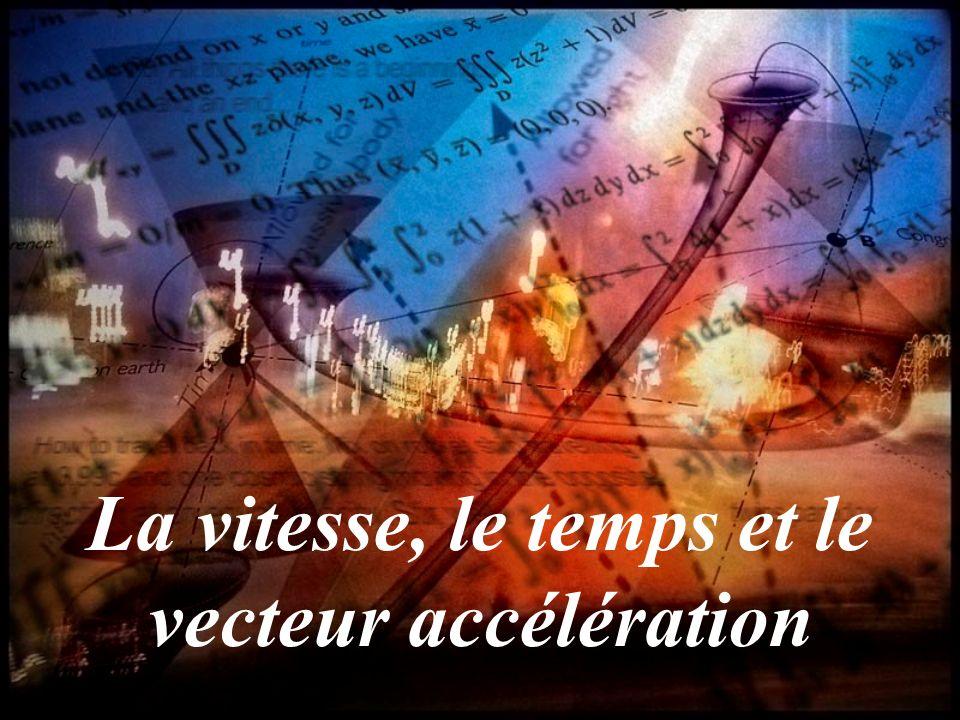 La vitesse, le temps et le vecteur accélération