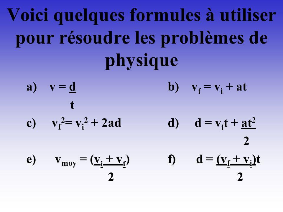 Voici quelques formules à utiliser pour résoudre les problèmes de physique
