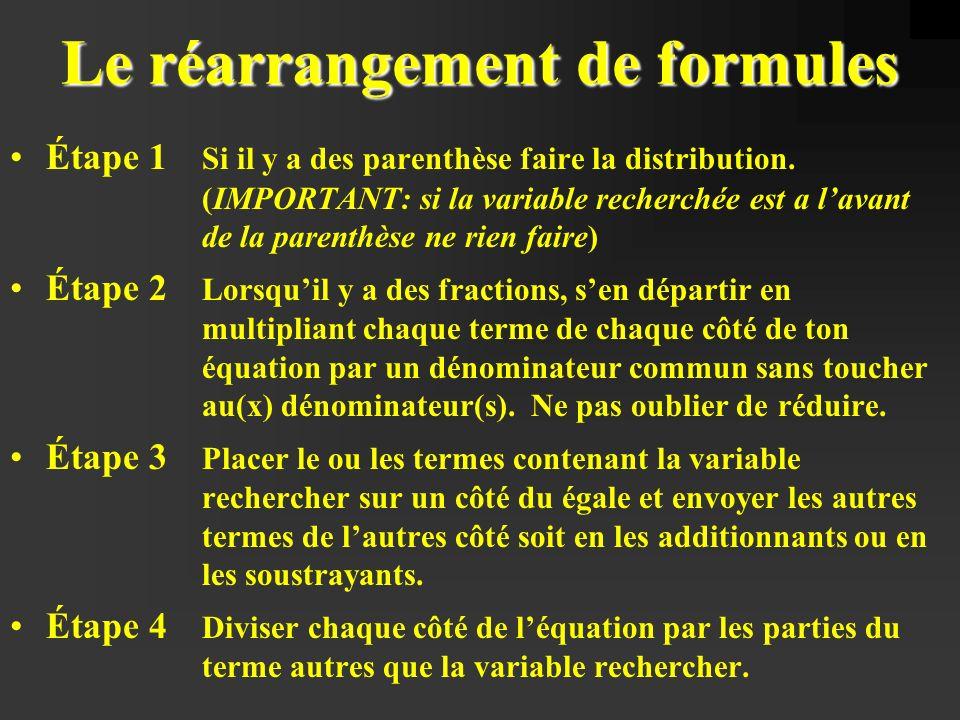 Le réarrangement de formules