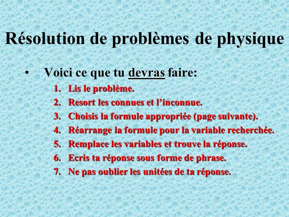 Résolution de problèmes de physique