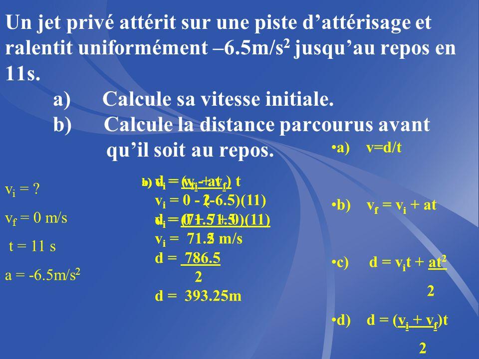 Un jet privé attérit sur une piste d'attérisage et ralentit uniformément –6.5m/s2 jusqu'au repos en 11s. a) Calcule sa vitesse initiale. b) Calcule la distance parcourus avant qu'il soit au repos.