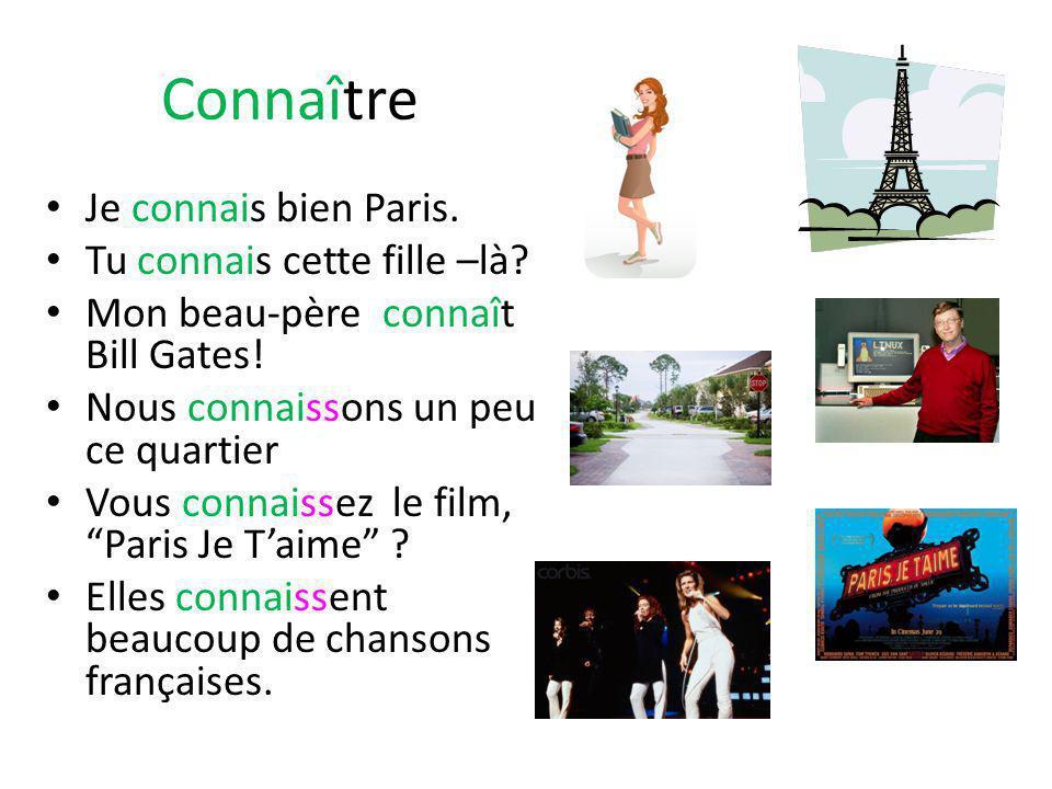 Connaître Je connais bien Paris. Tu connais cette fille –là