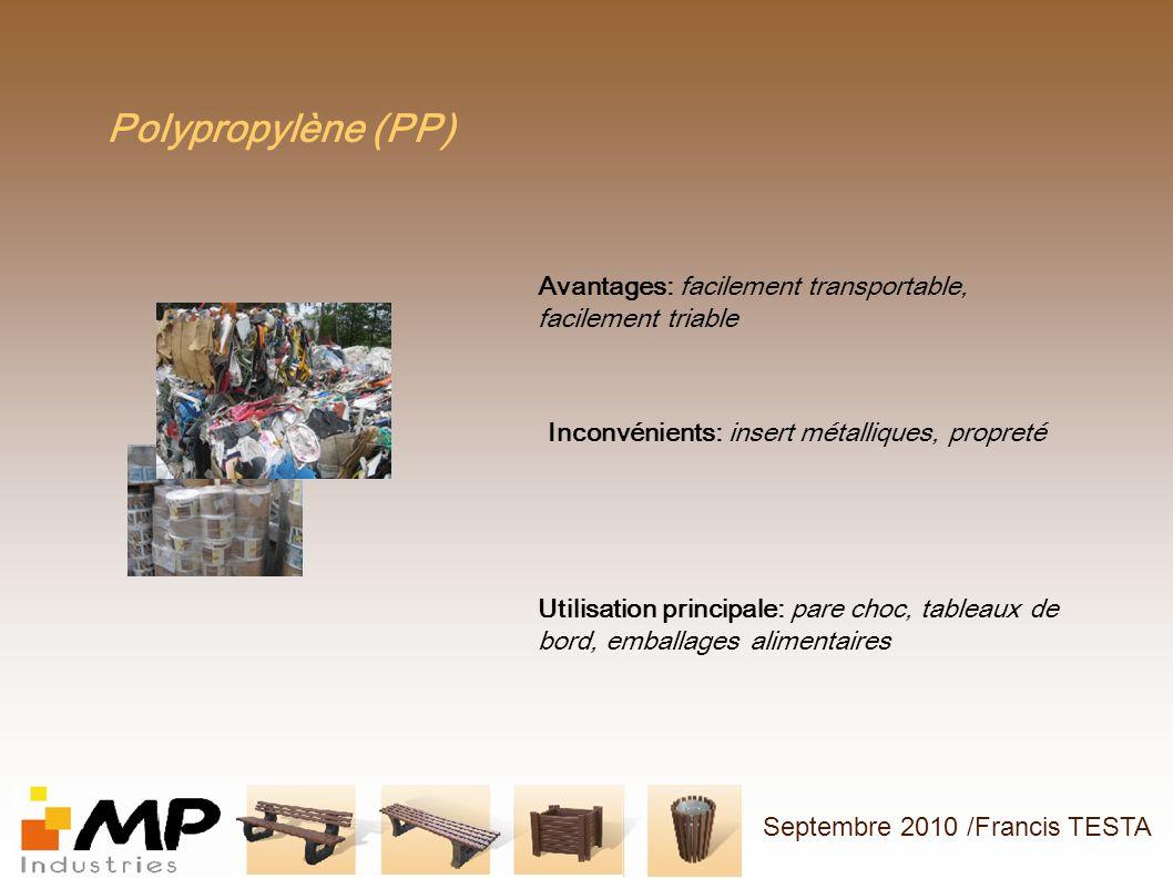 Polypropylène (PP) Avantages: facilement transportable, facilement triable. Inconvénients: insert métalliques, propreté.