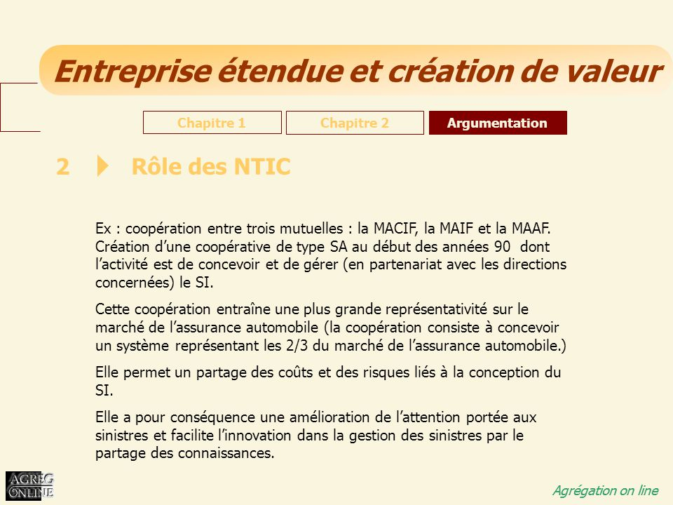 Chapitre 1 Chapitre 2. Argumentation. 2. Rôle des NTIC.