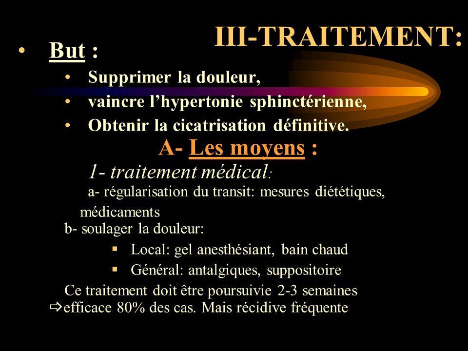 III-TRAITEMENT: But : Supprimer la douleur,