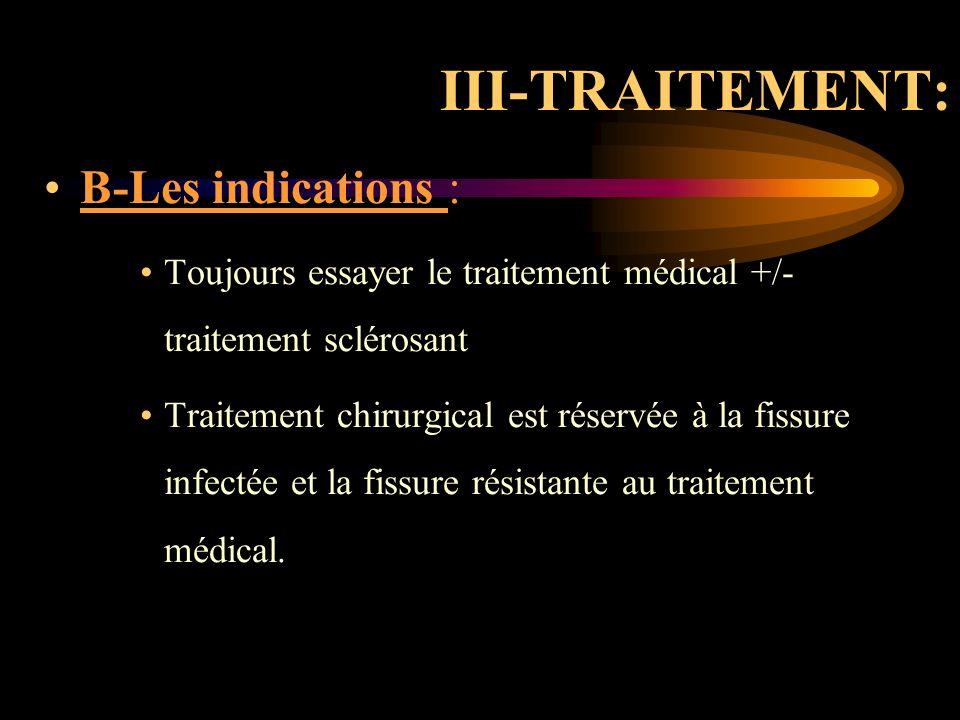 III-TRAITEMENT: B-Les indications :