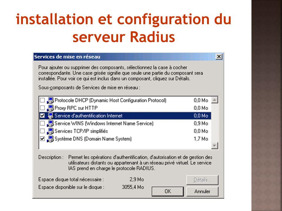 installation et configuration du serveur Radius