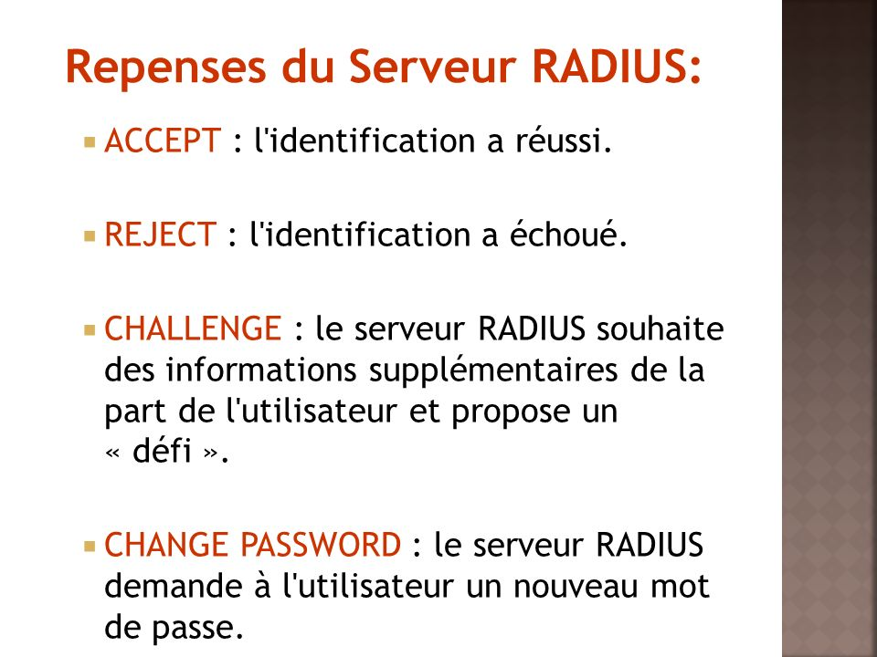 Repenses du Serveur RADIUS:
