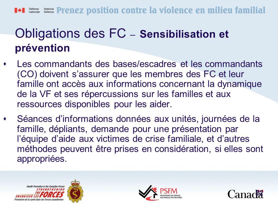 Obligations des FC – Sensibilisation et prévention