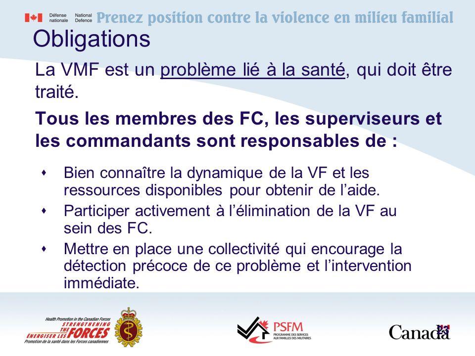 Obligations La VMF est un problème lié à la santé, qui doit être traité.