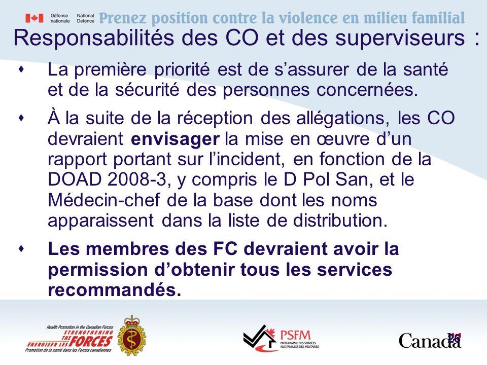 Responsabilités des CO et des superviseurs :