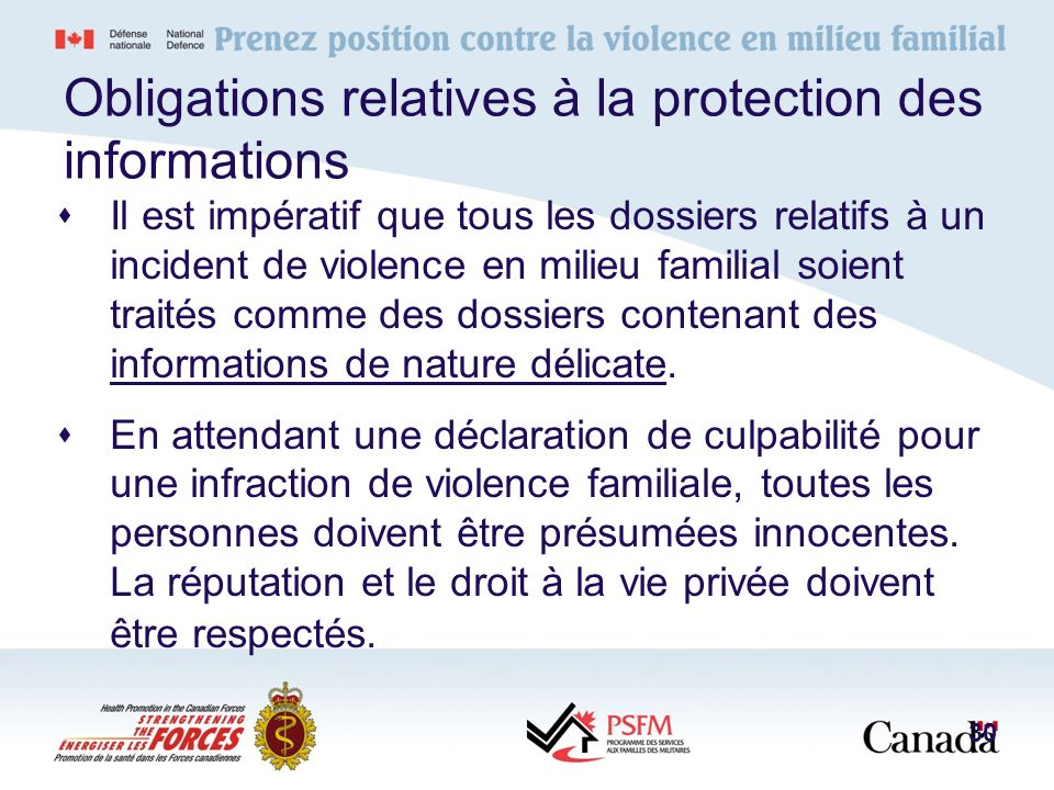 Obligations relatives à la protection des informations