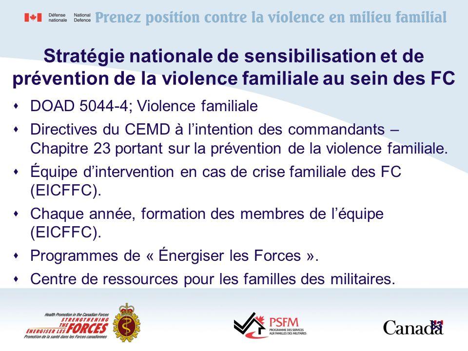 Stratégie nationale de sensibilisation et de prévention de la violence familiale au sein des FC