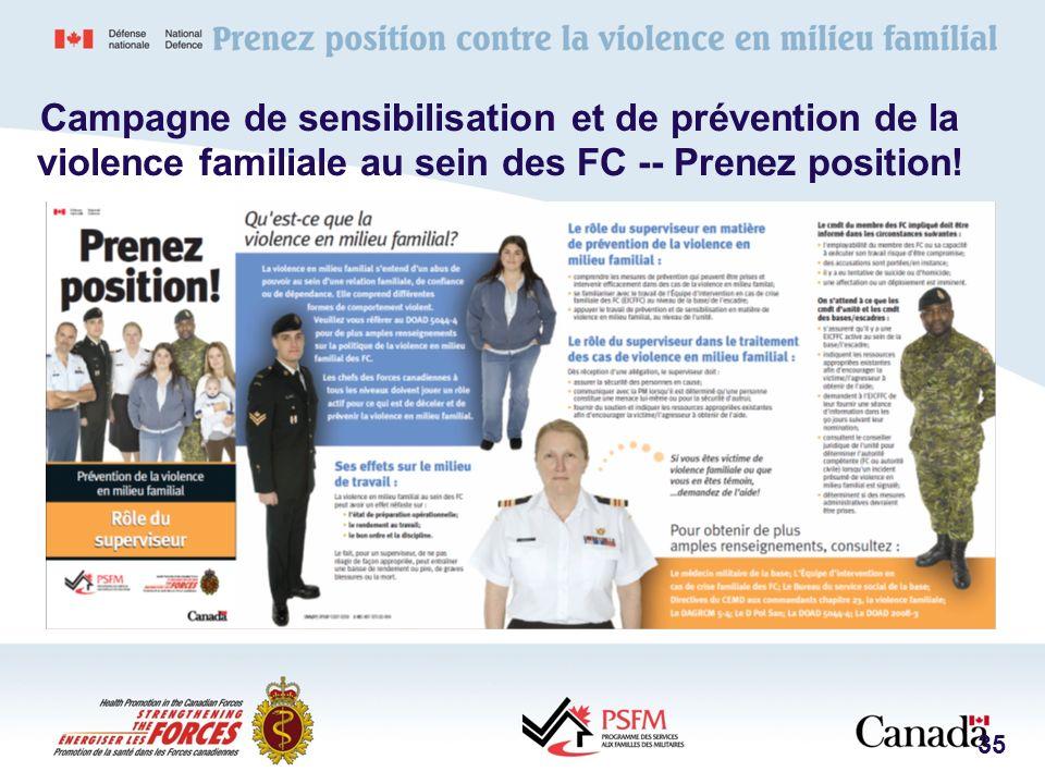 Campagne de sensibilisation et de prévention de la violence familiale au sein des FC -- Prenez position!