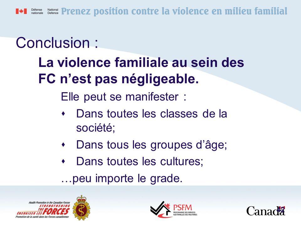 Conclusion :La violence familiale au sein des FC n'est pas négligeable. Elle peut se manifester : Dans toutes les classes de la société;