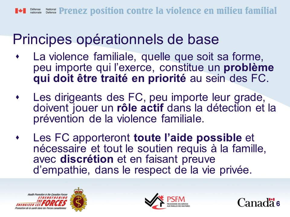 Principes opérationnels de base