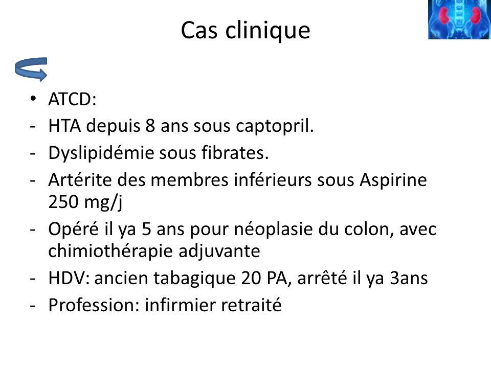 Cas clinique ATCD: HTA depuis 8 ans sous captopril.