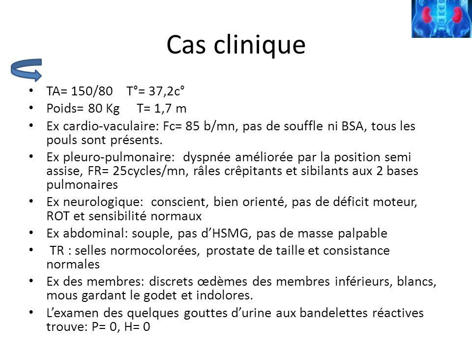 Cas clinique TA= 150/80 T°= 37,2c° Poids= 80 Kg T= 1,7 m