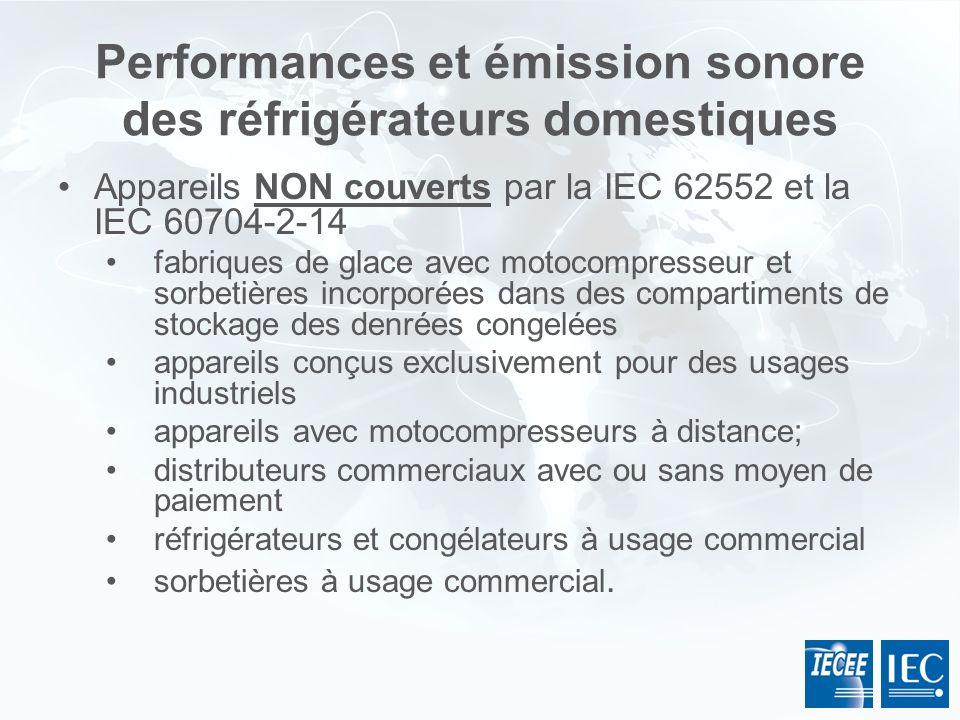 Performances et émission sonore des réfrigérateurs domestiques