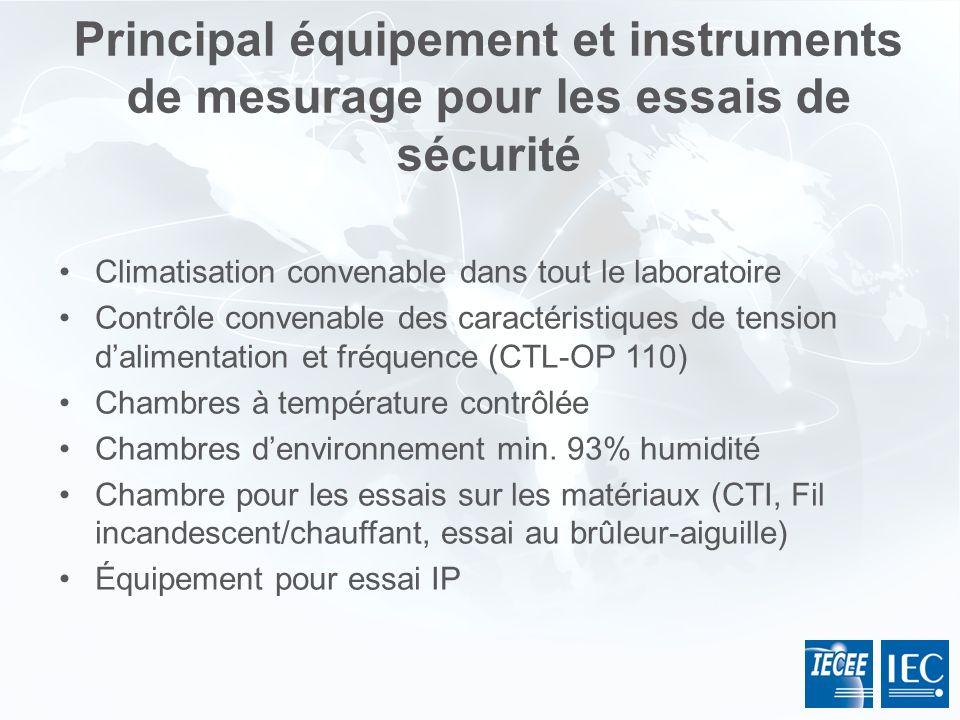 Principal équipement et instruments de mesurage pour les essais de sécurité