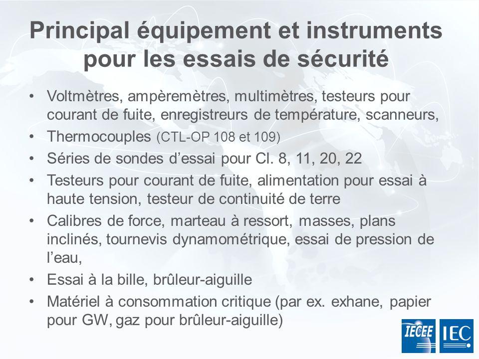 Principal équipement et instruments pour les essais de sécurité