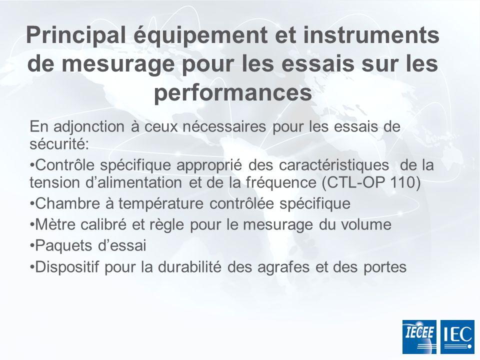 Principal équipement et instruments de mesurage pour les essais sur les performances