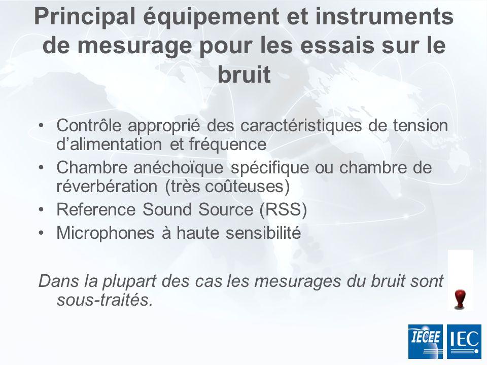 Principal équipement et instruments de mesurage pour les essais sur le bruit
