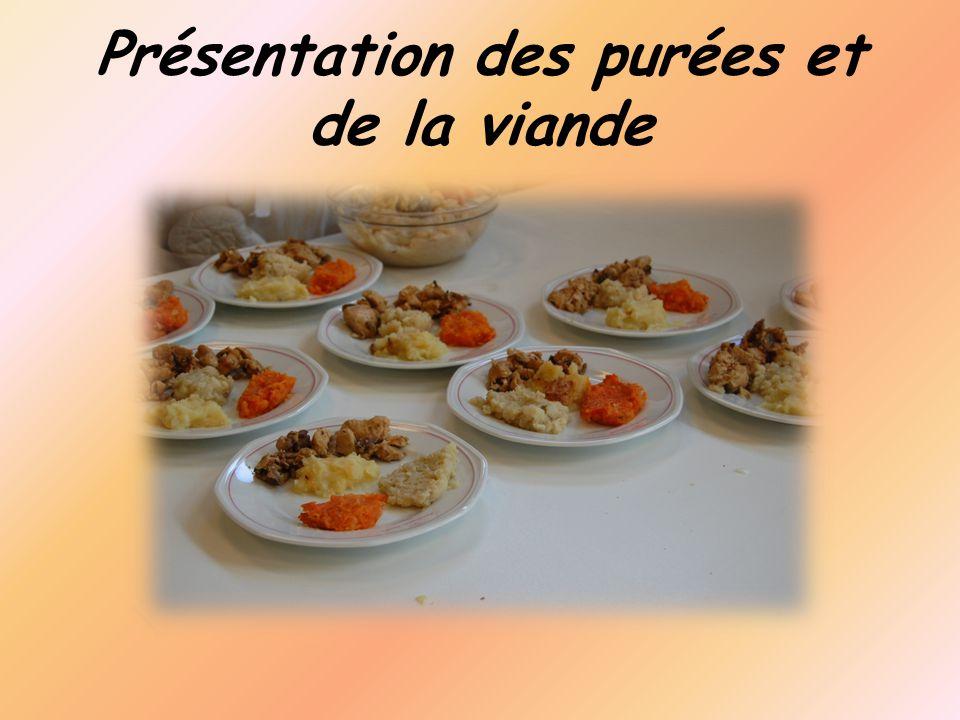 Présentation des purées et de la viande