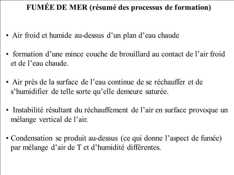 FUMÉE DE MER (résumé des processus de formation)