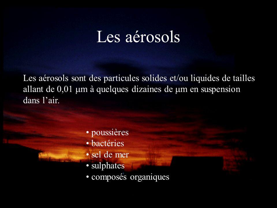 Les aérosols Les aérosols sont des particules solides et/ou liquides de tailles allant de 0,01 mm à quelques dizaines de mm en suspension dans l'air.
