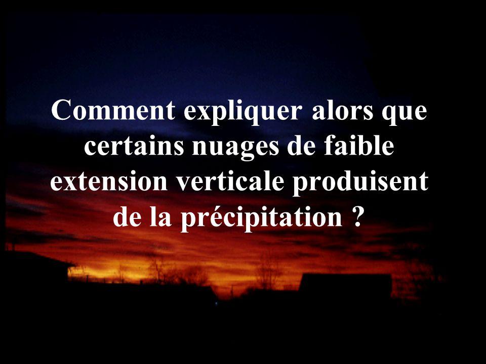 Comment expliquer alors que certains nuages de faible extension verticale produisent de la précipitation