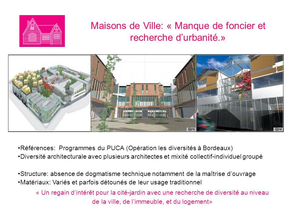 Maisons de Ville: « Manque de foncier et recherche d'urbanité.»