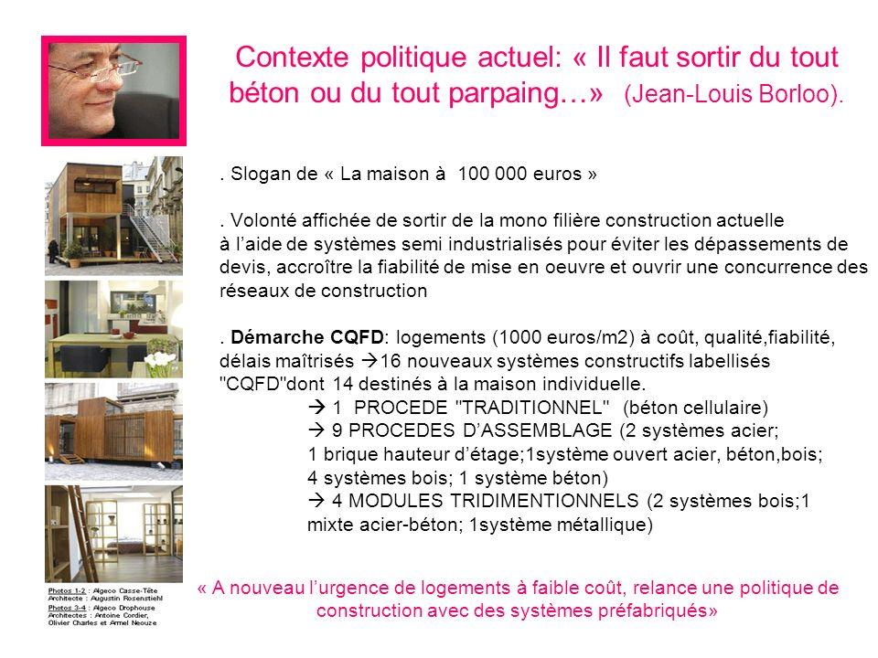 Contexte politique actuel: « Il faut sortir du tout béton ou du tout parpaing…» (Jean-Louis Borloo).