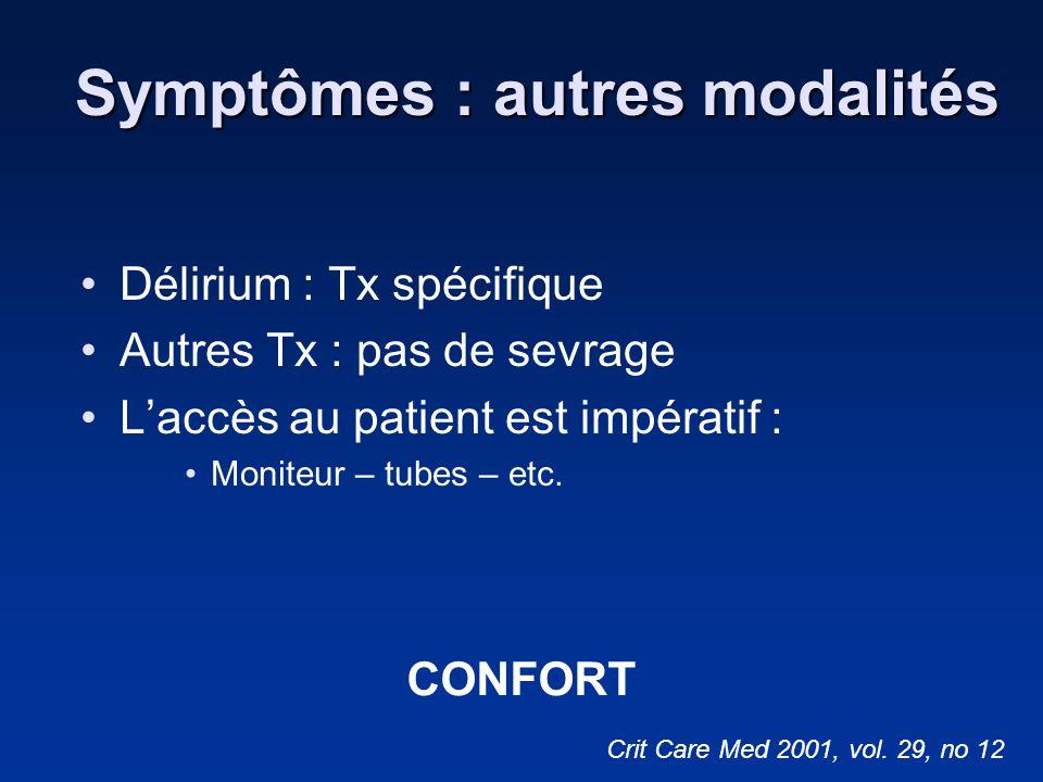 Symptômes : autres modalités