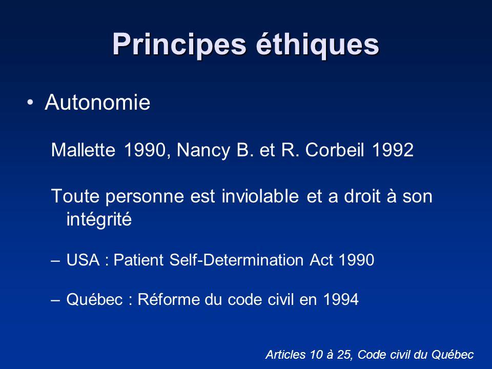 Principes éthiques Autonomie