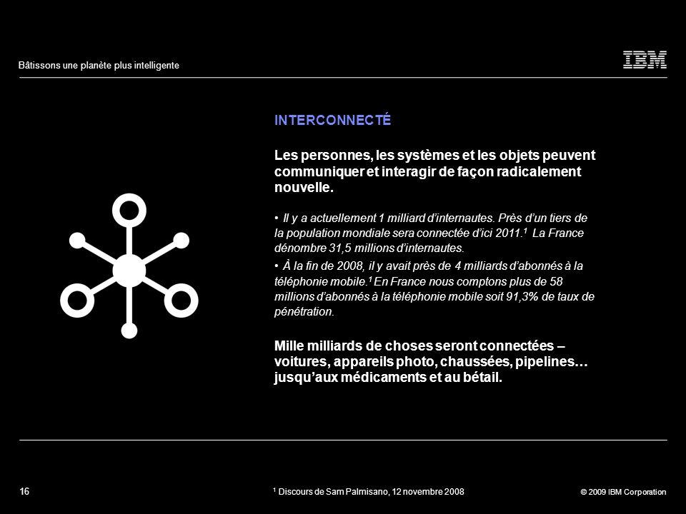 INTERCONNECTÉ Les personnes, les systèmes et les objets peuvent communiquer et interagir de façon radicalement nouvelle.