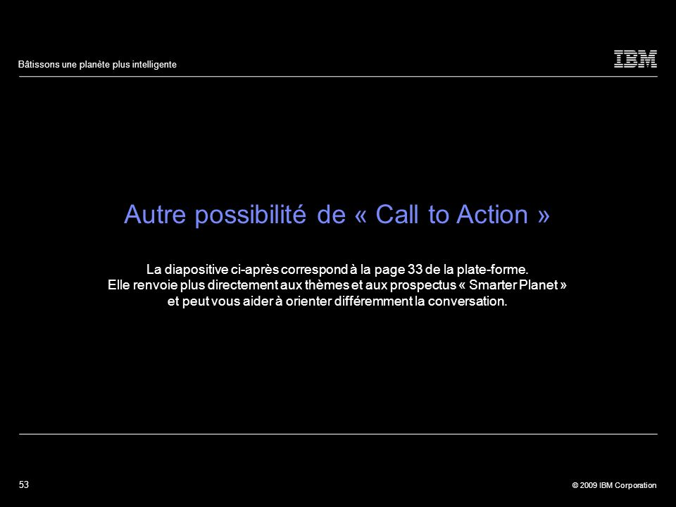 Autre possibilité de « Call to Action »